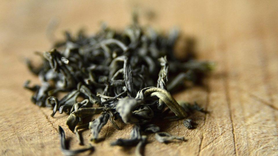 Detail lístsků veitnamského zeleného čaje