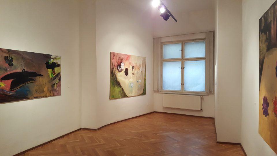 V menších místnostech galerie umisťují umělci intimnější díla
