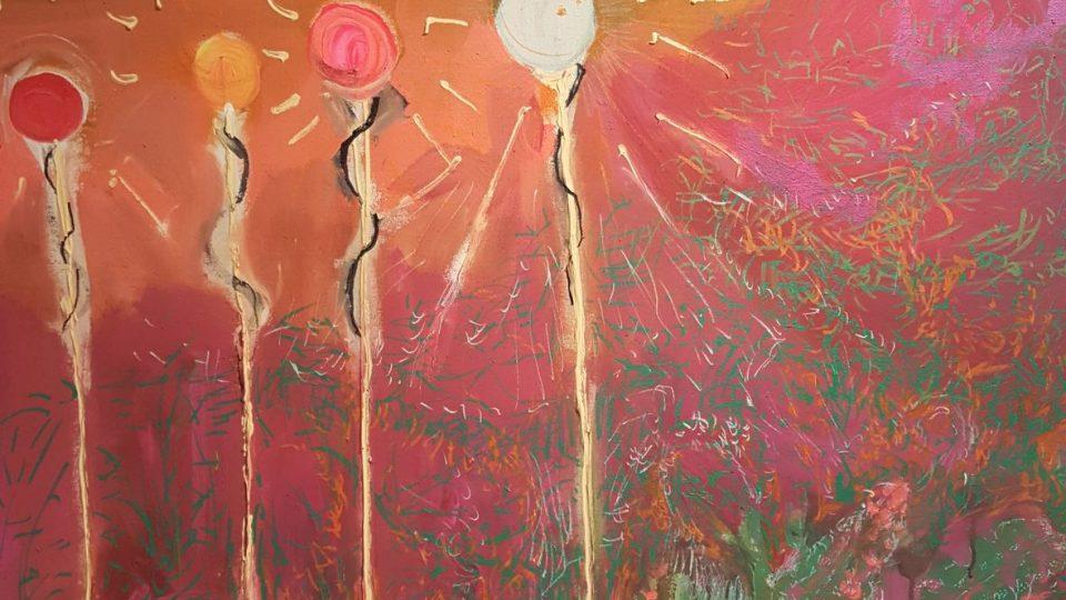 Z aktuální výstavy Aleše Růžičky, Kozín - vřes, 2017, akryl na plátně, výřez