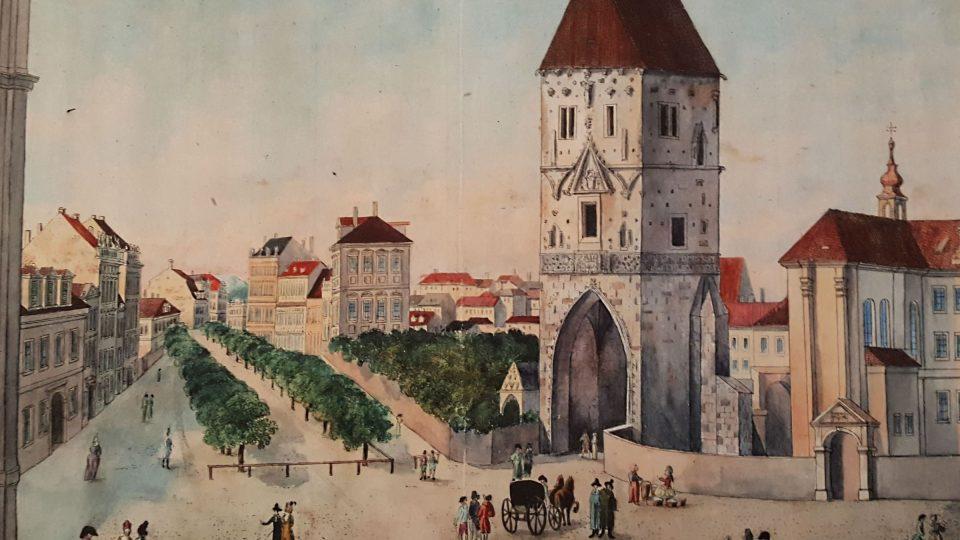 Leopold Peukert, Prašná brána a Staré aleje (dnes Na Příkopě), kolorovaný lept z roku 1793